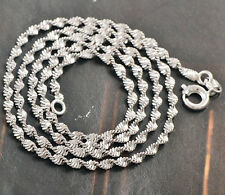 Vintage 9K White Gold Filled Wave Chain -Womens Chain Link Necklace 17inches