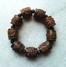 20MM Man's Natural Blackwood Beads Wood Bracelet Two Dragons Play with a Pearl
