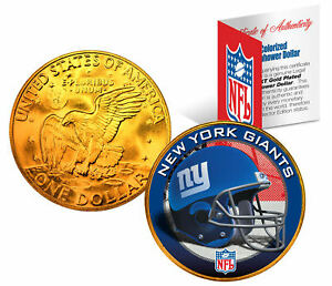 NEW YORK GIANTS NFL 24K Gold Plated IKE Dollar U.S. Coin * OFFICIALLY LICENSED *