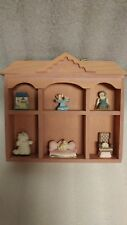 Mini Curio Cabinet Wall Shelf with 6 Figurines (Wooden) 6.25 x 6 (inches)