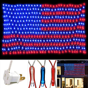 American Flag 420 Led String Lights Large Usa Outdoor Waterproo White Red Blue