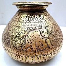 VINTAGE POT BRASS ELEPHANT INDIAN HAND CRAFTED ENGRAVED WORK RARE COLLECTIBLES