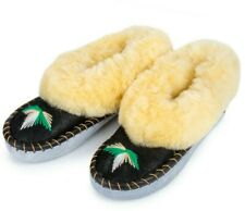 Women's Fluffy Bootie Slippers 100% Sheep Wool Leather Warm Cozy ASSORTED DESIGN