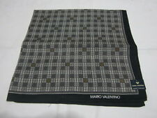 "USED MARIO VALENTINO LOGO PATTERN COTTON 18"" HANDKERCHIEF POCKET SQUARE MEN"