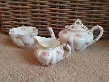 More details for wileman foley sprig of pink roses small teapot sugar &milk jug gilt trio