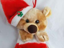 Vintage Plush Teddy Bear Wearing Santa Hat Christmas Stocking Novelty