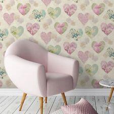 Fine Decor Wallpaper - Vintage Hearts Roses - Floral Pink - Girls Room - FD41912