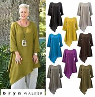 BRYN WALKER Lagenlook Heavy Linen  NADA TUNIC Long Angle Hem 1X 2X 3X  FALL 2017