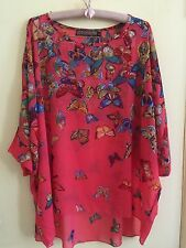 Coral Rainbow Butterfly Crepe Chiffon Poncho Top M/L New