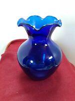 "Vintage Blue Cobalt Blown Art Glass Vase Smooth Design Fluted Ruffled Edge 4.5"""