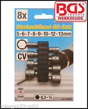 """BGS - Nut Driver 8 Pc Set - 5 to 13 mm - 1/4"""" Drive - Really Useful Tool - 67308"""