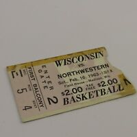 Wisconsin Badgers vs Northwestern Ticket Stub 1963 Basketball Game Field House