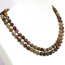 Natural 8mm Multicolor Jasper Round Gems Beads Necklaces 36 inches C2356