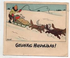 Carte postale Hergé. Carte Neige 12. Tintin tiré par un traîneau.