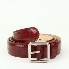 $355 Balenciaga Men's Burgundy Crocodile Stamped Leather Belt 90/36 460333 6410