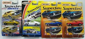 "4X ""MATCHBOX"" SUPERFAST 1970 MUSTANG BOSS 302 No.5 & 28 w/ **RARE RED** MOC"