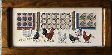 New ListingVintage Completed Framed Cross Stitch Wall Art Farmhouse Rooster Hen Quilts 7x14