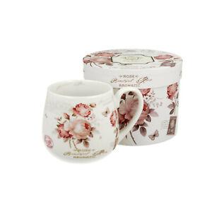 Teetasse mit SIEB und DECKEL Teebecher PORZELLAN Weiß Kaffeebecher ROSEN Tasse