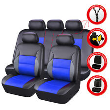 CARPASS PU Leather Auto car Seat Covers Full Synthetic Set 2Front &1Bench blue