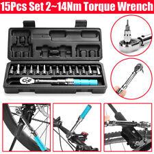 "15X Torque Wrench 2~14NM 1/4"" Drive Ratchet Socket Screwdriver Bit Repair Tool"