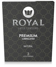 Royal Condoms Ultra Thin Lubricated Vegan Latex Small for Men, 3 Pack Box