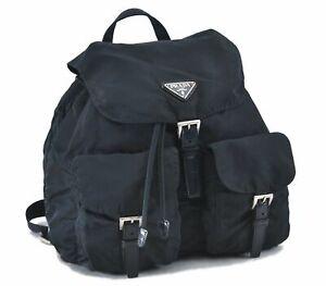 Authentic PRADA Nylon Backpack Navy D8986