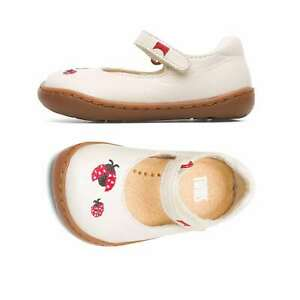 NEW Camper Twins Baby Toddler Shoes White Leather Ladybug Cute Flats