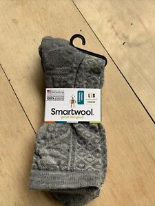 SmartWool Women's Lily Pond Pointelle Crew Socks- Size Large Gray Heather