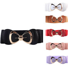 Womens Fashion Bowknot Buckle Leather Waistband Wide Elastic Stretch Waist Belts