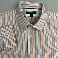Banana Republic Non Iron Button Up Shirt Mens XL Orange Blue Stripe Long Sleeve