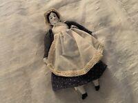 "Small 7"" Porcelain Doll, Soft Body, Porcelain Head & Shoulders, Hands, Feet"