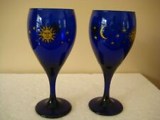 Set 2 Libbey Cobalt Blue CELESTIAL Sun Star & Moon Wine Glasses Goblets