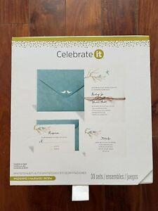 Celebrate It Invitation Kit Wedding 30 Printable Invitation Card Sets Birds Teal