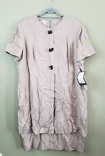 Evan-Picone Womens Plus Size 20W Beige Wood Animal Buttons Shift Dress NWT