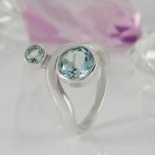 Ring in 925/- Silber mit 2 Blautopas Edelsteiinen Gr. 55 - NEU