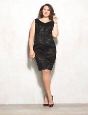 WOMENS 18W BLACK SLEEVELESS SHEATH DRESS (1X) double v-neck lined LUXE by CARMEN