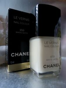 CHANEL 459 WHITE SATIN Sheer Off-White Fab for French Manicure New Not Mint Box