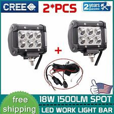 2x 4INCH 18W CREE LED Work Light Bar Spot Offroad Fog Lamp 4WD Pickup+Wiring Kit