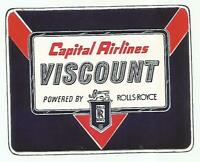 CAPITAL VISCOUNT AIRLINE luggage label