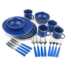 24 Piece Enamel Camping Tableware Set Blue Stansport Outdoor Cooking Supplies
