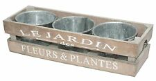 Wooden Crate Window Box Herb Planter with 3 Metal Zinc Plant or Flower Pots