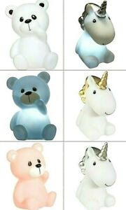 Nachtlicht, LED, Kinder-Einschlafhilfe,Teddybär in 3 Farben, Einhorn in 2 Farben