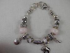 """Taurus Charm Bracelet Heart Clasp pink Murano beads 8"""""""