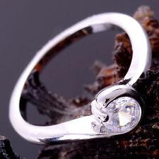 14K White Gold Filled Shinin White Topaz Ring Size 7 - Wife Girlfriend Daughter