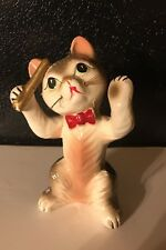 "Vintage Cat Porcelain Enesco? Kitty W/Whiskers Conducting Band  6.75"" Tall Japan"