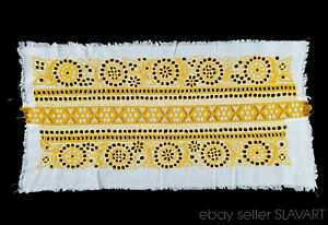 ANTIQUE Slovak Folk Embroidery & Bobbin Lace handmade panel yellow Detva kroj