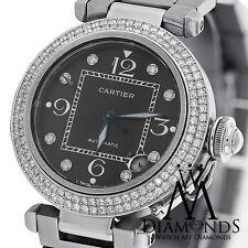 Cartier Pasha Automatic Midsize Diamond Bezel Stainless Watch Ref-2324 Box&Paper