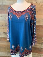 New~RUBY ROAD WOMAN 1X Plus Blue & Rust 3/4-Sleeve Rayon Knit Sweater-Top Shirt