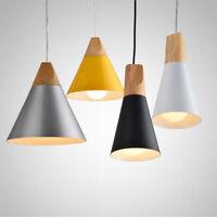 White Black Yellow Modern Wood Metal Light Pendant Lamp Wooden Celling Lampshade