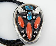 """Bennett Sterling Silver Coral Turquoise Navajo Bolo 38"""" Leather Tie 52.7 Grams"""